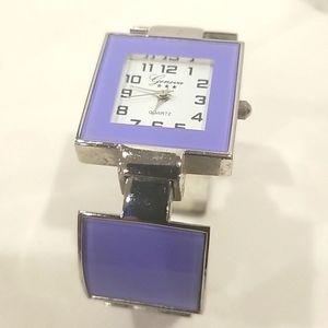 GENEVA Women's Purple Cuff Bracelet Watch